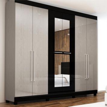 Guarda roupa pegasus com espelho 6 pt 3 gv cinza preto gelius