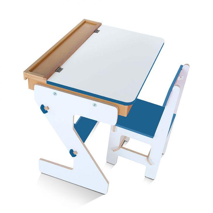 Mesa Versátil MDF 4 Peças Caixa De Papelão Branco e Azul Carlu Brinquedos Cod: CA366TA92WJRMOB