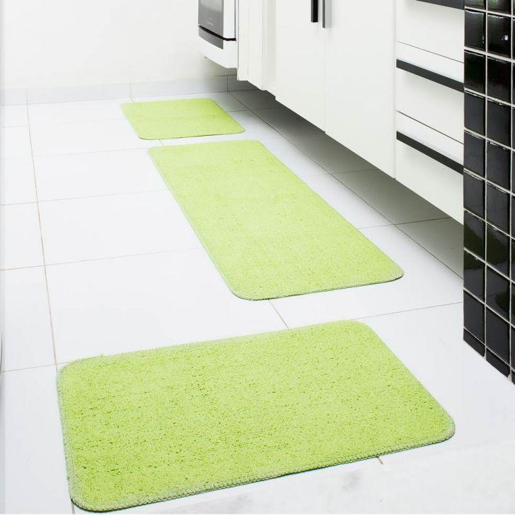 Conjunto de Tapete para Cozinha Natura 3 Peças Verde Oásis Tapetes Cod: OA609AC82GEVMOB