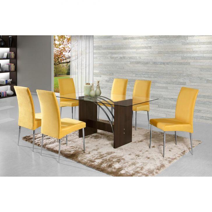 Conjunto Mesa Poliana E 6 Cadeiras Arian Amarela Cod: AO001TA72MEXMOB