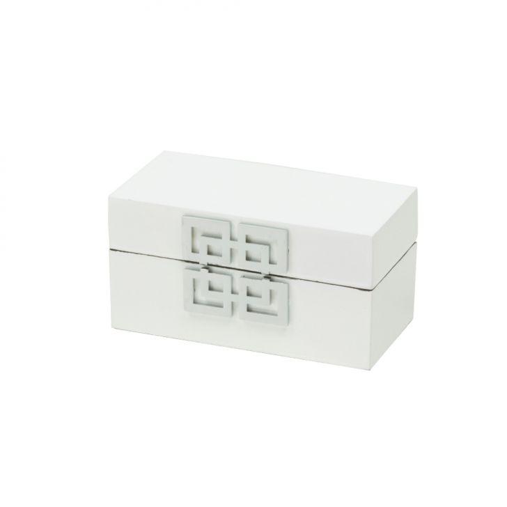 Caixa Decorativa pequena ZigZag em Madeira Branca 14x7,2x7,5 cm Cod: 7899768036603