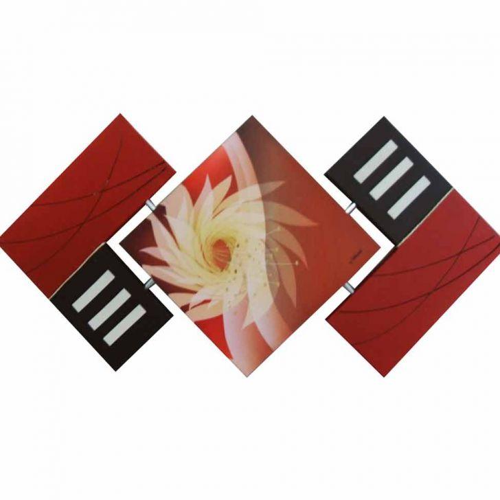 Quadro Artesanal Abstrato Losango Floral 65x125cm Marrom Uniart