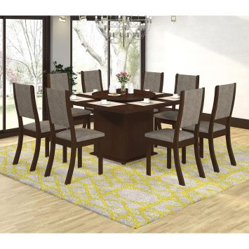 Conjunto Mesa Sara E 8 Cadeiras Kiara Choco E Canela Cod: VI642TA12CBVMOB