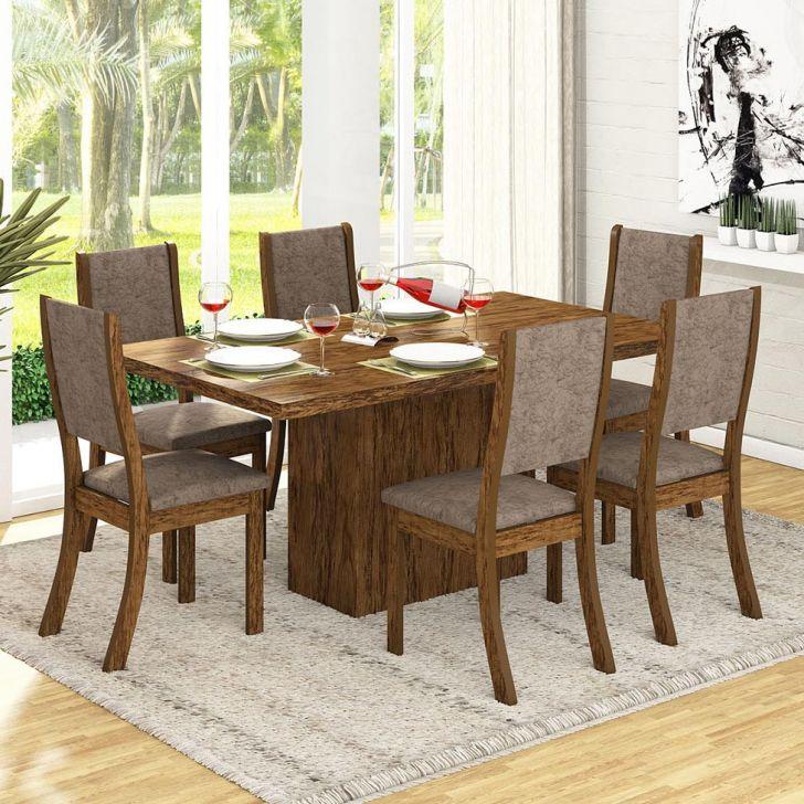 Conjunto Mesa Dani E 6 Cadeiras Kiara Avelã E Canela Cod: VI642TA02CCFMOB