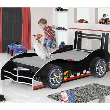 Cama infantil carro flash plus preto gelius moveis