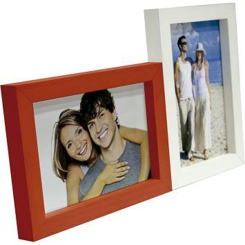 Painel love para mesa 2 fotos branco com vermelho 61066