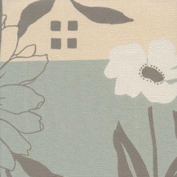 Papel de parede harmonia cinza bege verde 9148