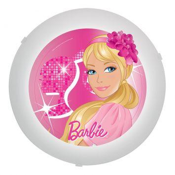 Plafon licenciado redondo barbie teen branco rosa