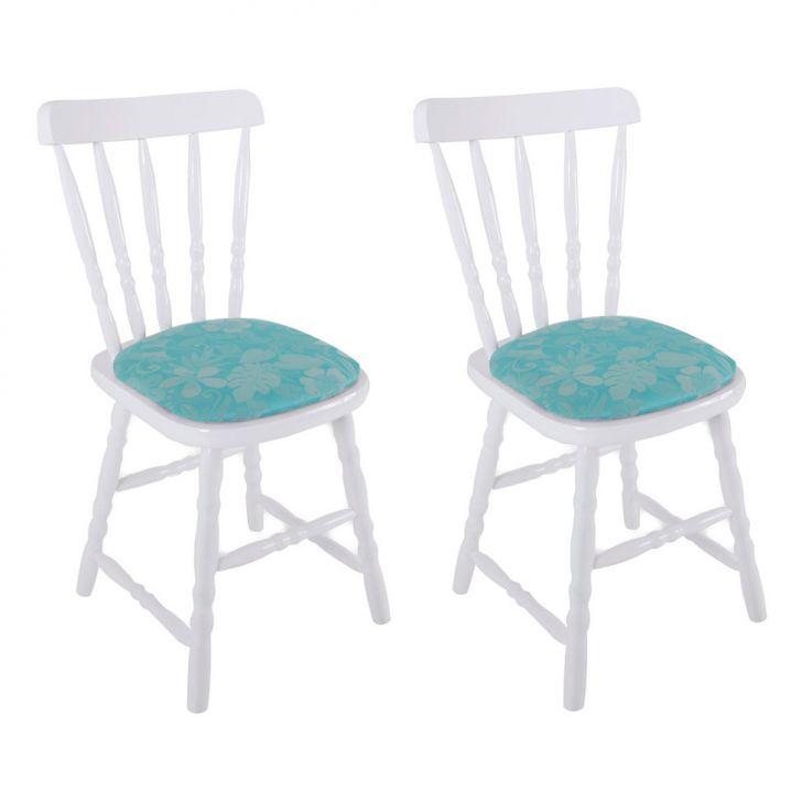 Conjunto 2 Cadeiras Dalas Estofada Branca T54 Cod: EC909CH51OZWMOB