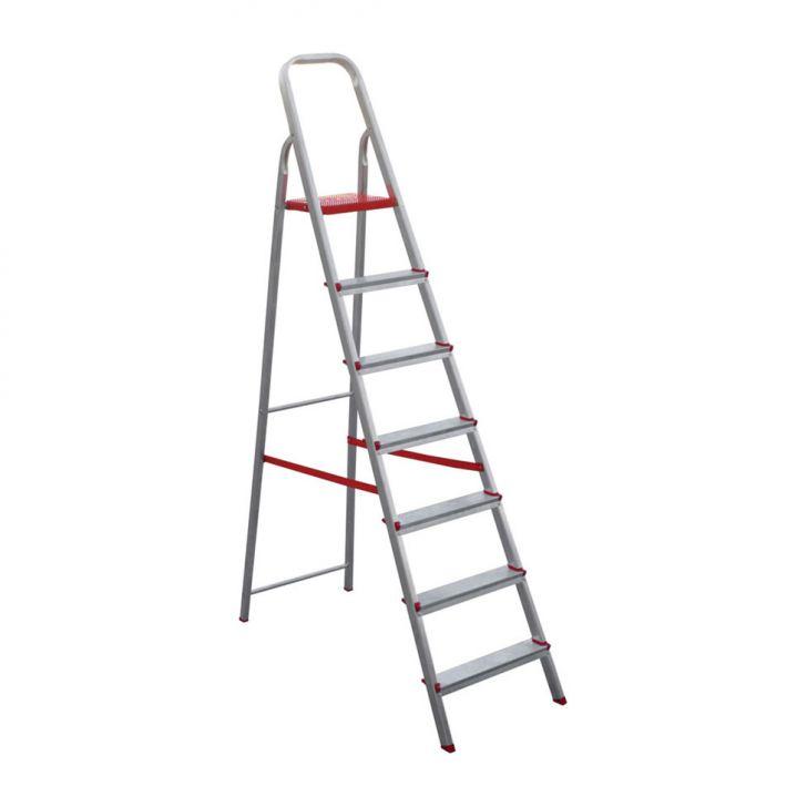 escada de Alumínio Com 7 degraus 150X52 Prata Cod: BO645AC41YLQMOB
