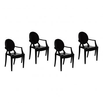 Conjunto com 4 cadeiras preto ghost 449
