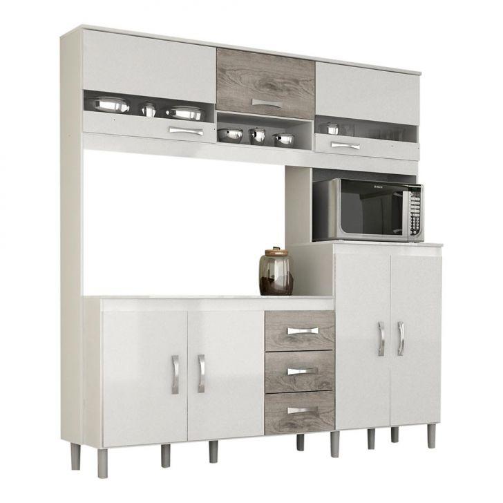 Kit De Cozinha Roma Plus Branco e Cinza Cod: RO870CL31KTCMOB