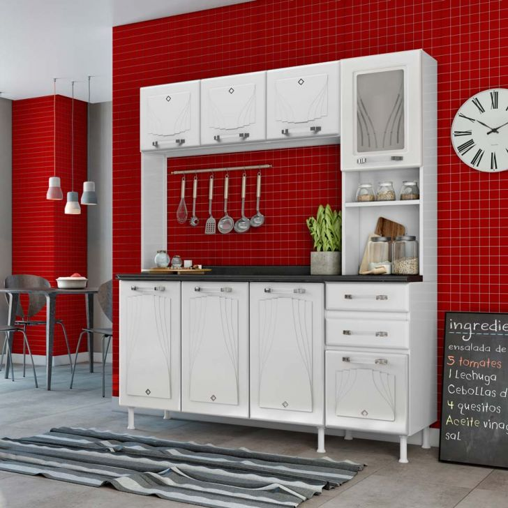 Cozinha Compacta Pop Com Tampo 8 Portas E 2 Gavetas Star Branca Cod: 7899673259494