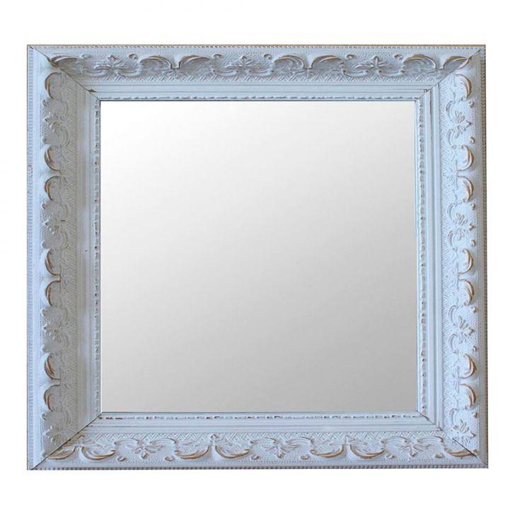 Espelho Moldura Rococó Raso 16282 Branco Patina