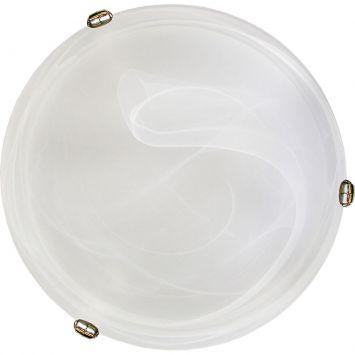 Plafon murano vidro 30cm 2 lampadas e 27 max 60w branco garra dourada