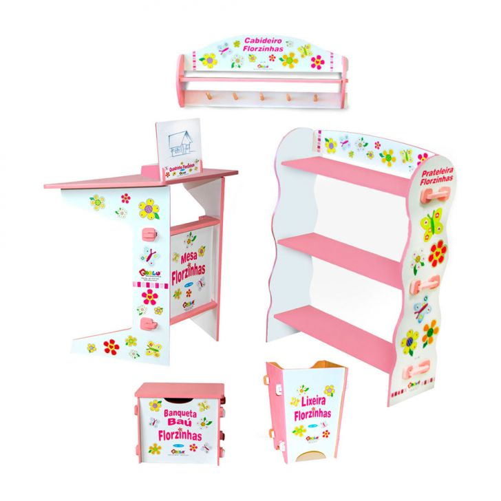 Kit Quarto Infantil Florzinhas - 5 Itens - Caixa De Papelão Colorido Carlu Brinquedos Cod: CA366AC20IDJMOB