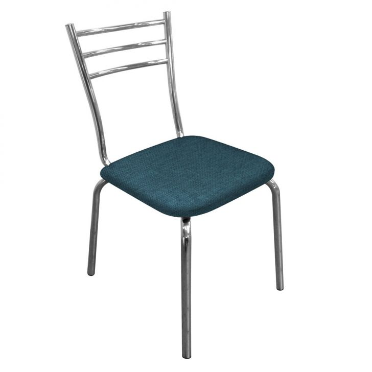 Cadeira Em Aluminio Com Assento Em Linho Azul Cod: DA167CH20MWLMOB