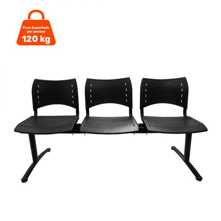 Cadeira Longarina 3 Lugares Preta Evidence Executiva Cod: 7898917636800