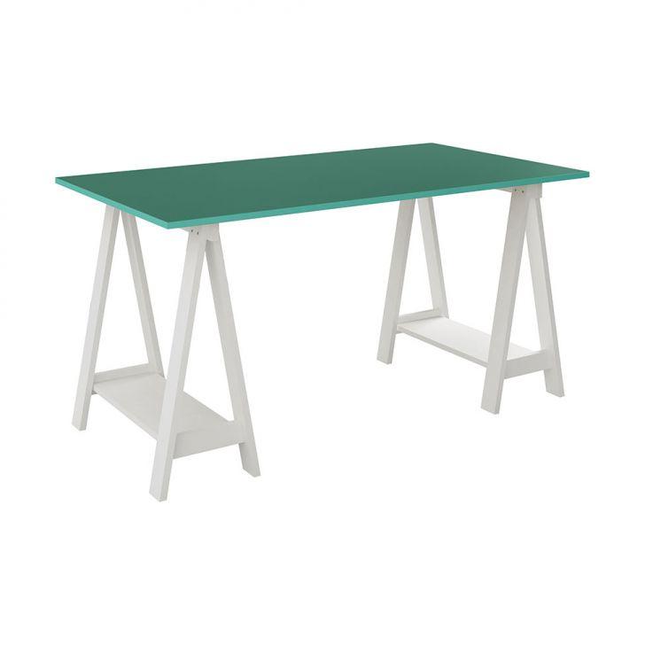 Mesa Escrivaninha Cavalete / Tampo Branco / Turquesa Cod: UV479TA00DBNMOB