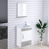 Armário Suspenso para Banheiro com Espelho Kit Verona 39 cm Branco/Cinza - Rorato