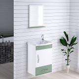 Armário Suspenso para Banheiro com Espelho Kit Verona 39 cm Branco/Verde Acqua - Rorato
