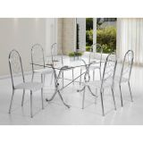Conjunto Mesa E 6 Cadeiras Rainha Branca