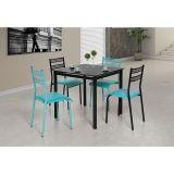 Sala de Jantar Jasmin Jéssica com 4 Cadeiras Preto/Turquesa - Aço Nobre