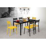 Sala de Jantar Tulipa Thaís com 6 Cadeiras Preto/Amarelo - Aço Nobre