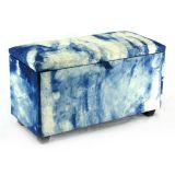 Puff com Baú Big 90 cm Suede Azul Absolut