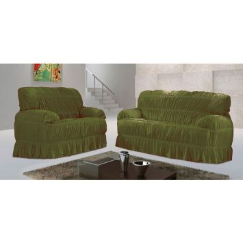 Capa para sofá Malha Verde Oliva VI 70x200 cm - 3 e 2 lugares Adomes Capa para sofá