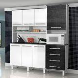 Armário De Cozinha Splendore –7PT –4GV Branco & Preto Linho