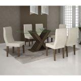 Conjunto de Mesa e 6 Cadeiras Verona Retangular Castanho