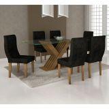 Conjunto de Mesa e 6 Cadeiras Verona Retangular Marrom