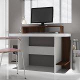 Mesa para Computador BC 3766 2 Prateleiras Branco & Tabaco