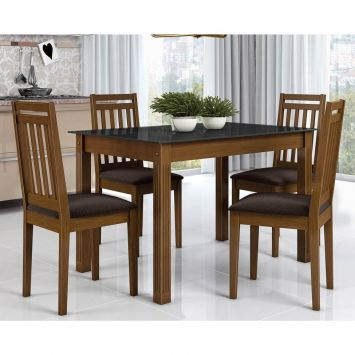 Conjunto de Mesa Retangular com 4 Cadeiras Mariana Imbuia e Chocolate Alamo Industria Marina