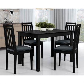 Conjunto de Mesa Retangular com 4 Cadeiras Mariana Preto e Cinza Alamo Industria Marina