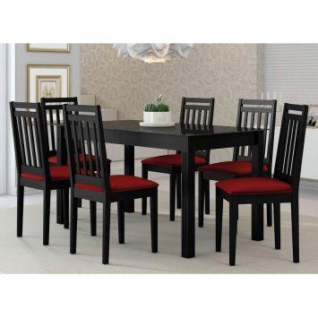 Conjunto de Mesa Retangular com 6 Cadeiras Mariana Preto e Vermelho Alamo Industria Marina