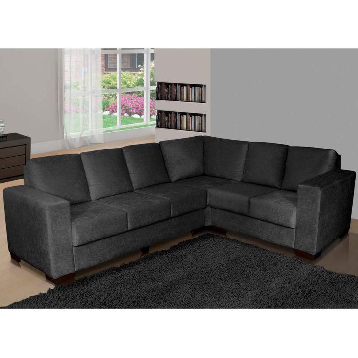 Conjunto de sofá de Canto de 5 lugares Berlim Suede Cinza American Comfort