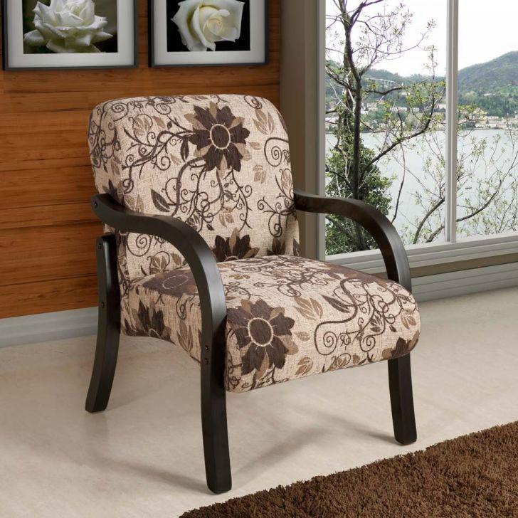 Poltrona Decorativa Vênus Chenille Marrom Floral American Comfort