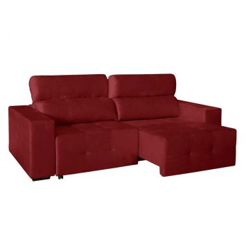 Sofá 3 Lugares Grécia Retrátil e Reclinável Suede Brilho Vermelho American Comfort AC 3000 / 442