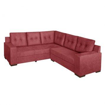 Sofá de Canto 4 Lugares Sevilha Suede Amassado Vermelho Tijolo American Comfort AC 4880 / 814