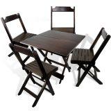 Conjunto de Mesa e Cadeiras Dobráveis em Madeira Maciça 70x70 Imbuia