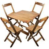 Conjunto de Mesa e Cadeiras Dobráveis em Madeira Maciça 70x70 Natural