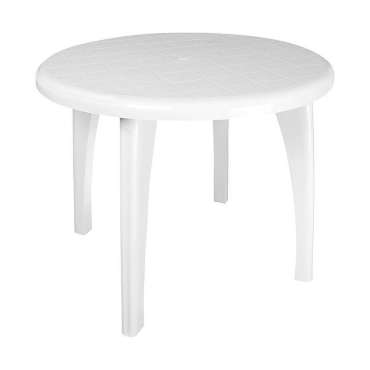Mesa de pl stico redonda desmont vel branca antares for Mesas infantiles de plastico