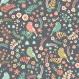 Papel de Parede Flores e pássaros Vintage