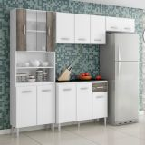 Armário de Cozinha Compacta Sheila 9 Portas  Branco e Cinza Aramóveis