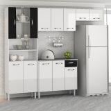 Armário de Cozinha Compacta Sheila 9 Portas  Branco e Preto Aramóveis