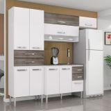 Cozinha Compacta Renata 7 Portas 2 Gavetas Branco e Cinza Aramóveis