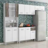 Cozinha Compacta Sheila 9 Portas  Branco e Cinza Aramóveis