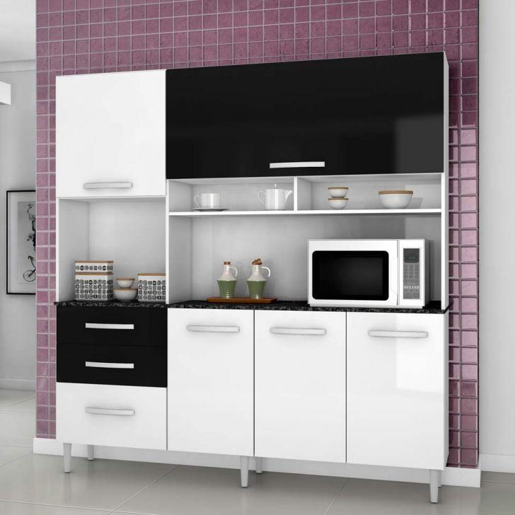 Cozinha Completa Lory 5 Portas Branco e Preto Aramóveis DESCONTO DE R$: 290,00 (30,53% OFF) - OFERTA MOBLY